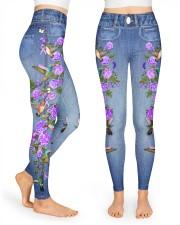 Fibromyalgia Awareness Denim Pattern Print High Waist Leggings front