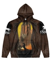 Love horses Leather pattern print  Men's All Over Print Hoodie front