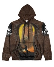 Love horses Leather pattern print  Women's All Over Print Hoodie tile
