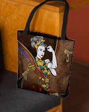 Autism mom Leather pattern print All-over Tote aos-all-over-tote-lifestyle-front-02