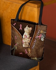 Paws For The Cure Leather Pattern Print All-over Tote aos-all-over-tote-lifestyle-front-02