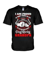 PROUD DRAG RACING GRANDPA V-Neck T-Shirt thumbnail