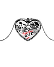 TRUCKER'S  WIFE - PREMIUM Metallic Heart Necklace front