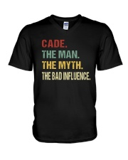 Cade The man The myth The bad influence V-Neck T-Shirt tile