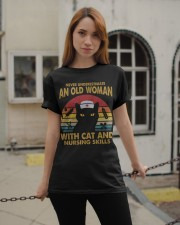 OLD WOMAN WITH CAT AND NURSING SKILLS Classic T-Shirt apparel-classic-tshirt-lifestyle-19