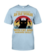 OLD WOMAN WITH CAT AND NURSING SKILLS Classic T-Shirt tile