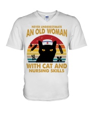 OLD WOMAN WITH CAT AND NURSING SKILLS V-Neck T-Shirt thumbnail