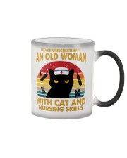 OLD WOMAN WITH CAT AND NURSING SKILLS Color Changing Mug thumbnail