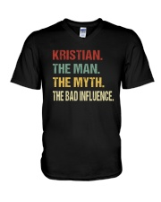 Kristian The man The myth The bad influence V-Neck T-Shirt tile