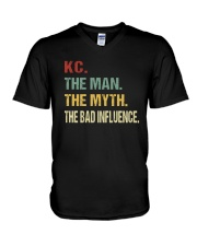Kc The man The myth The bad influence V-Neck T-Shirt tile