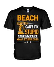 BEACH - FIX WHAT STUPID DOES V-Neck T-Shirt thumbnail