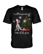christmas Dalmatian V-Neck T-Shirt thumbnail