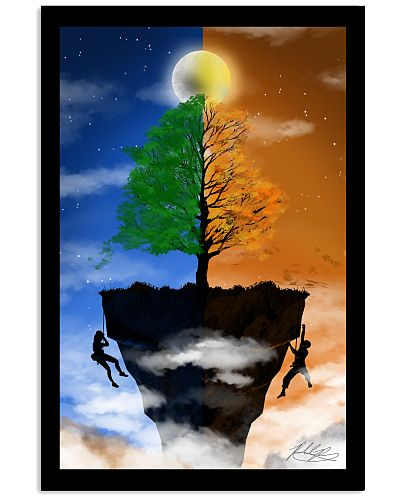 Couple climbing a Cliff