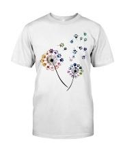 Dog Flower Fly Dandelion dog paw flower t-shirt Classic T-Shirt front