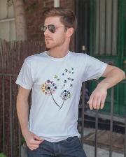 Dog Flower Fly Dandelion dog paw flower t-shirt Classic T-Shirt lifestyle-mens-crewneck-front-2