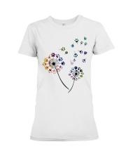 Dog Flower Fly Dandelion dog paw flower t-shirt Premium Fit Ladies Tee thumbnail