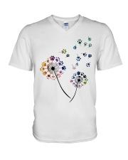 Dog Flower Fly Dandelion dog paw flower t-shirt V-Neck T-Shirt thumbnail