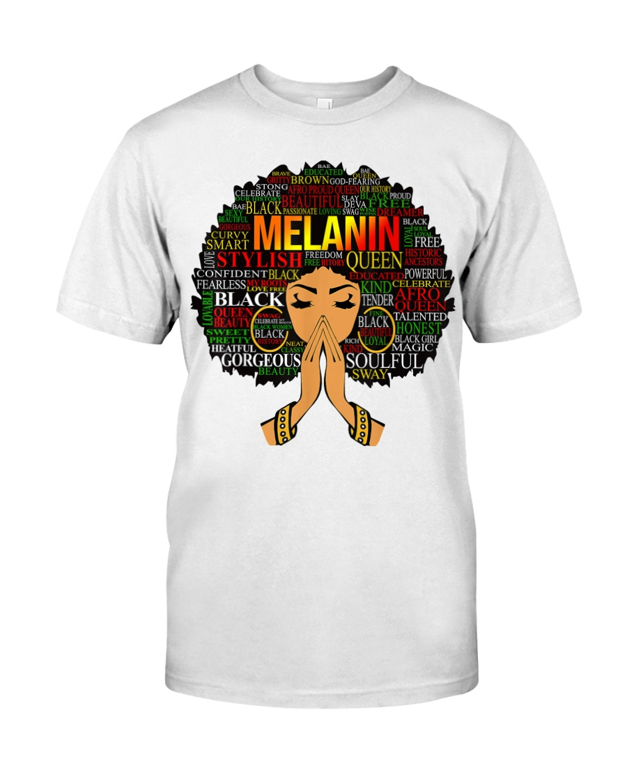 Melanin Words Art Afro Natural Hair Black T-Shirt Classic T-Shirt