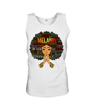 Melanin Words Art Afro Natural Hair Black T-Shirt Unisex Tank tile