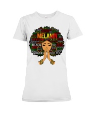Melanin Words Art Afro Natural Hair Black T-Shirt Premium Fit Ladies Tee tile