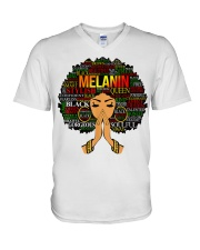 Melanin Words Art Afro Natural Hair Black T-Shirt V-Neck T-Shirt tile