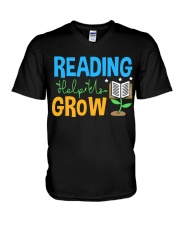 Librarian - Reading Help Us Grow V-Neck T-Shirt thumbnail