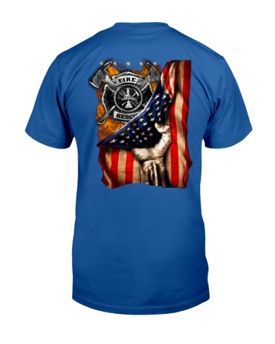 Firefighter - American Flag - Fire Dept logo