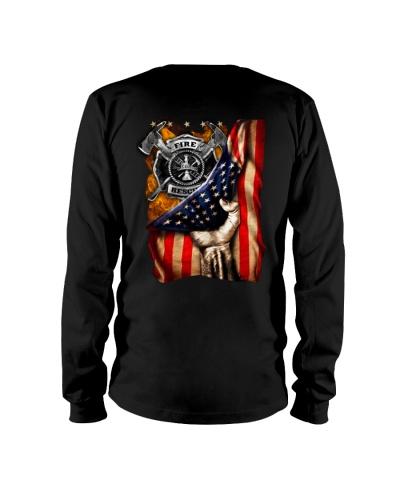 Firefighter - American Flag - Fire Dept logo