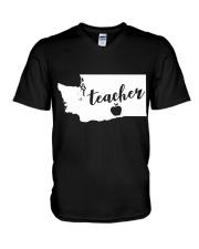 Washington Teacher - Map V-Neck T-Shirt thumbnail