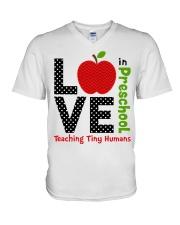 Preschool Teacher - Teaching tiny humans V-Neck T-Shirt thumbnail