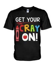 Teacher - Cray on V-Neck T-Shirt thumbnail