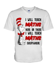 Math Teacher teach everywhere V-Neck T-Shirt thumbnail