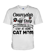Counselor - Stay at Home Cat Mom V-Neck T-Shirt thumbnail