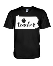 Pennsylvania Teacher - Map V-Neck T-Shirt thumbnail