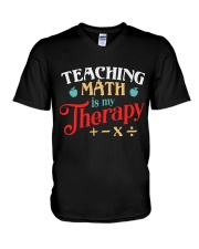 Math Teacher - Teaching Math is My Therapy V-Neck T-Shirt thumbnail