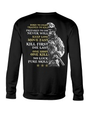 Veteran - Born to Fight - No Luck - Pure Skill Crewneck Sweatshirt thumbnail