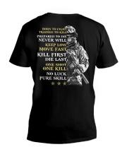 Veteran - Born to Fight - No Luck - Pure Skill V-Neck T-Shirt thumbnail
