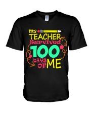My Teacher Survived 100 Days of Me V-Neck T-Shirt thumbnail