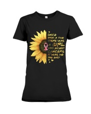 A Girl who kicked Cancers Premium Fit Ladies Tee thumbnail