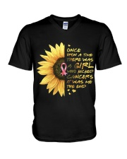 A Girl who kicked Cancers V-Neck T-Shirt tile