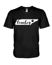Tennessee Teacher - Map V-Neck T-Shirt thumbnail