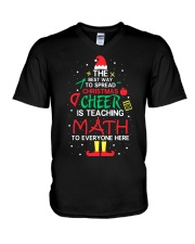 Math Teacher - The best way to spread Christmas V-Neck T-Shirt thumbnail