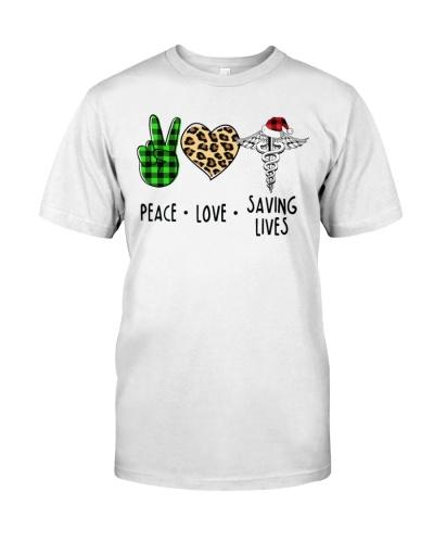 Nurse - Peace - Love - Saving Lives - Christmas