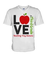 Third Grade Teacher - Teaching tiny humans V-Neck T-Shirt thumbnail