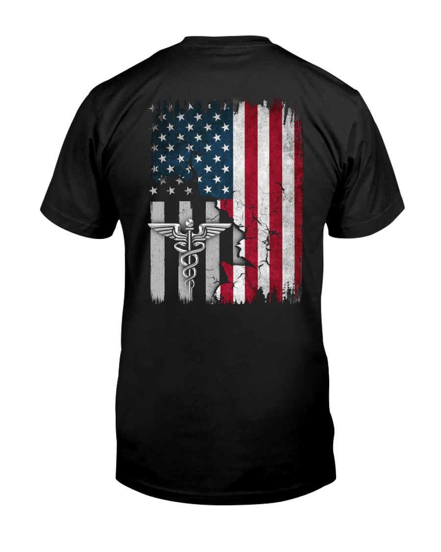 Nurse - American Flag - Vintage Retro Design Classic T-Shirt