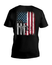 Nurse - American Flag - Vintage Retro Design V-Neck T-Shirt thumbnail
