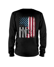 Nurse - American Flag - Vintage Retro Design Long Sleeve Tee thumbnail