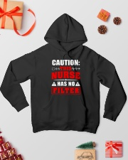 Nurse - No filter Hooded Sweatshirt lifestyle-holiday-hoodie-front-2
