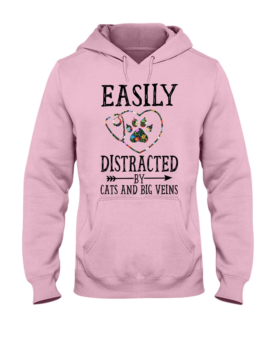 Nurse - Distracted by cats and big veins Hooded Sweatshirt
