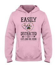 Nurse - Distracted by cats and big veins Hooded Sweatshirt front